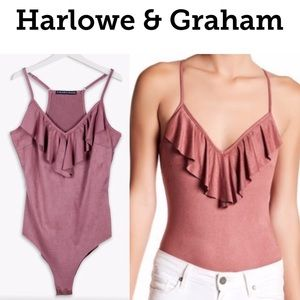 HARLOW & GRAHAM Faux Suede Bodysuit Dusty Rose